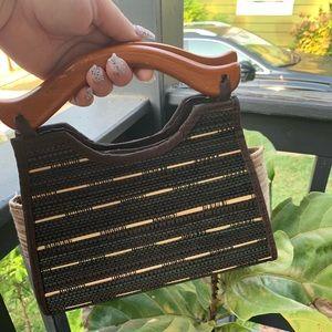 Wooden handle handbag